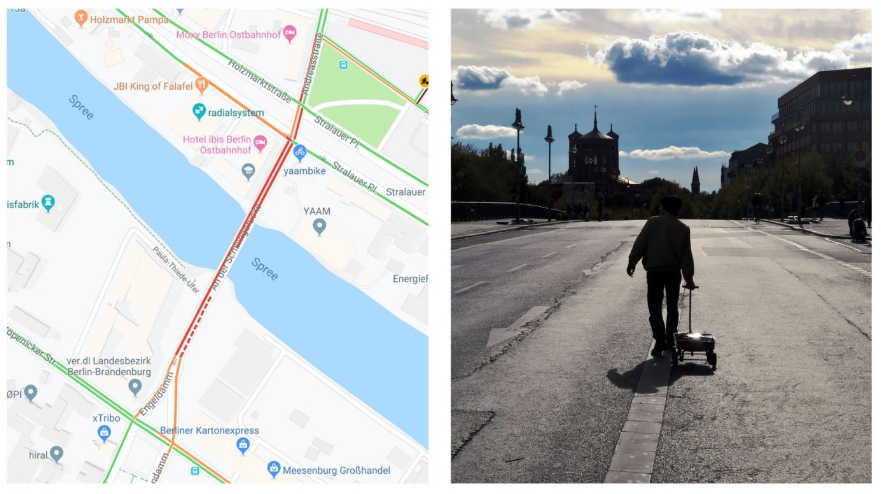 Two images showing Weckert pulling a wagon of phones and the resulting display of traffic on Google Maps.